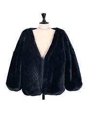 Недорогие -Для женщин На выход На каждый день Зима Осень Пальто с мехом V-образный вырез,Простой Однотонный Обычная Длинные рукава,Искусственный мех,