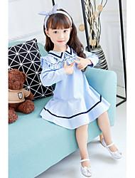 abordables -Robe Fille de Anniversaire Décontracté / Quotidien Rayé Coton Polyester Printemps Automne Manches Longues simple Mignon Bleu