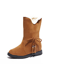Women's Shoes Rubber Winter Snow Boots Boots Round Toe for Outdoor Black Red Camel