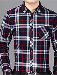 Недорогие -Для мужчин На каждый день Зима Осень Рубашка Рубашечный воротник,Шинуазери (китайский стиль) Шахматка Длинные рукава,Полиэстер,Толстая