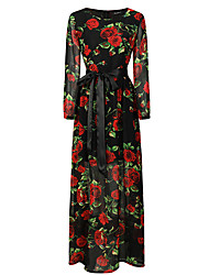 cheap -Women's Casual/Daily Boho Sheath Dress,Floral Print Round Neck Maxi Long Sleeve Polyester Winter Fall Mid Rise Micro-elastic Thin