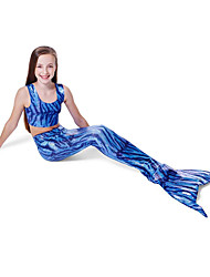 cheap -The Little Mermaid Bikini Swimwear Kid's Christmas Masquerade Festival / Holiday Halloween Costumes Blue Color Block Sequins Bikini