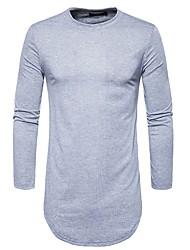Masculino Camiseta Casual Moda de Rua Inverno Outono,Sólido Algodão Poliéster Decote Redondo Manga Comprida Média