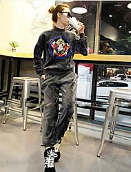 economico -Set Pantalone Completi abbigliamento Da donna Casual Semplice Inverno Autunno,Tinta unita Rotonda Seta Oversized Maniche lunghe Media