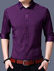 billige Nyheter-Bomull Skjorte Herre - Ensfarget Chinoiserie / Langermet
