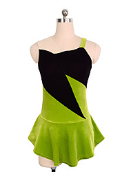 cheap -Figure Skating Dress Women's / Girls' Ice Skating Dress Green Spandex Inelastic Performance / Practise Skating Wear Solid Colored
