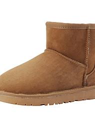 Недорогие -Для женщин Обувь Овчина Зима Зимние сапоги Ботинки Плоские Круглый носок Сапоги до середины икры для Повседневные Черный Бежевый Серый