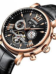 Недорогие -Муж. Механические часы / Часы со скелетом / Нарядные часы Swiss Календарь / Секундомер / Защита от влаги Натуральная кожа Группа Роскошь