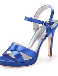 cheap -Women's Shoes Satin Spring / Summer Basic Pump Sandals Stiletto Heel Open Toe Buckle Red / Blue / Ivory / Party & Evening