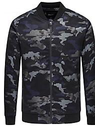 Недорогие -Для мужчин На выход На каждый день Зима Осень Куртка Круглый вырез,Уличный стиль камуфляж Обычная Длинный рукав,Полиэстер,Чистый цвет