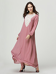 cheap -Arabian Dress / Abaya / Kaftan Dress Women's Festival / Holiday Halloween Costumes Green / Blue / Pink Color Block Ethnic Style / Dresses&Skirts / Lace