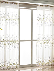 cheap -Sheer Curtains Shades Bedroom Floral Polyester Blend Embroidery