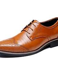 cheap -Men's Shoes Leather Spring / Fall Comfort Oxfords Black / Light Brown / Dark Brown / Party & Evening