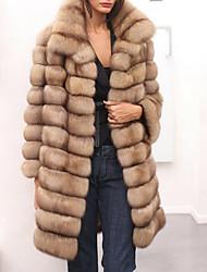 Langt Ærme Krave Damer Normal Ensfarvet Vinter Efterår Afslappet Kineseri I-byen-tøj Pelsfrakke,Imiteret pels