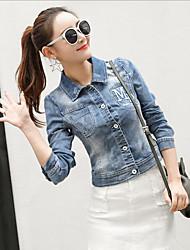 preiswerte -Damen Solide Retro Alltag Jeansjacke,Rundhalsausschnitt Winter Kurze Ärmel Standard Baumwolle Acryl Rüsche