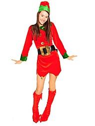 エルフ パンツ クリスマスドレス 女性用 クリスマス イベント/ホリデー ハロウィーンコスチューム レッド カラーブロック