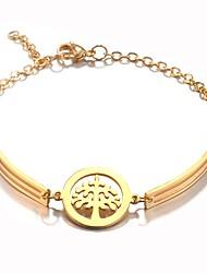 preiswerte -Damen Ketten- & Glieder-Armbänder , Retro Modisch Koreanisch Edelstahl Baum des Lebens Schmuck Alltag Arbeit Modeschmuck Gold Silber