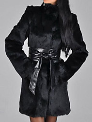 Недорогие -Жен. На каждый день Зима Осень Обычная Пальто с мехом Воротник-стойка, Простой Однотонный Хлопок Крупногабаритные