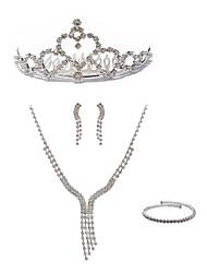 preiswerte -Damen Strass Diamantimitate Schmuck-Set Körperschmuck 1 Halskette Ohrringe - Modisch Europäisch Linienform Ketten Braut-Schmuck-Sets Für