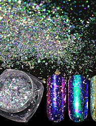 Недорогие -1шт Лазерная голографическая хамелеон Эффект разбитого стекла порошок Порошок блеска Гель для ногтей Как на фотографии Дизайн ногтей