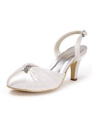 preiswerte -Damen Schuhe Seide Frühling Sommer Pumps Hochzeit Schuhe Stöckelabsatz Geschlossene Spitze Strass für Hochzeit Party & Festivität Weiß