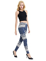 cheap -Women's Printing Rayon Medium Print Legging,Print Blue