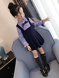 cheap -Girl's Casual/Daily Striped Dress,Cotton Polyester Spring Fall Long Sleeves Active Navy Blue