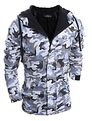 cheap -Men's Long Padded Coat,Casual Daily Sports Camouflage-Rayon Polyester Polypropylene Long Sleeves