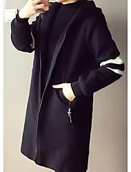 preiswerte -Damen Solide Freizeit Alltag Lang Mantel, Mit Kapuze Herbst Polyester überdimensional