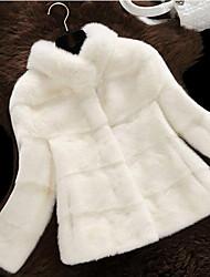 Недорогие -Жен. Повседневные Зима Короткая Пальто с мехом Воротник-стойка, Винтаж Однотонный Искусственный мех