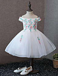 cheap -A-Line Knee Length Flower Girl Dress - Satin Tulle Short Sleeves Off Shoulder with Laces Pearl Detailing by LAN TING BRIDE®