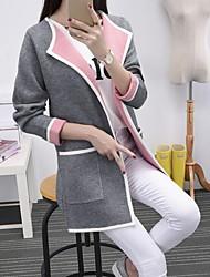 Damer Daglig Lang Cardigan Farveblok,Krave Langærmet Japansk Bomuld Vinter Forår Solid Elastisk