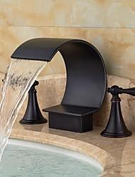abordables -Décoration artistique/Rétro Diffusion large Jet pluie Soupape en laiton Deux poignées trois trous Peintures, Robinet lavabo