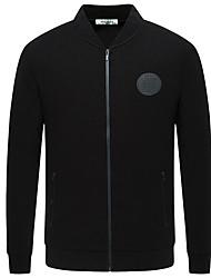 Недорогие -Для мужчин На выход На каждый день Зима Осень Куртка Круглый вырез,Уличный стиль Однотонный Обычная Длинный рукав,Полиэстер,Чистый цвет