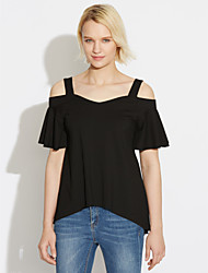 Women's Holiday Going out Sexy Summer Blouse,Solid Off Shoulder Short Sleeves Polyester Spandex Medium