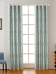 Double Pleat Tab Top Grommet Top Rod Pocket Curtain Formal Modern , Floral Bedroom Polyester Blend Material Blackout Curtains Drapes Home