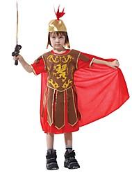 abordables -Spartiates La Grèce ancienne Costume Enfant Costume Rouge/jaune Vintage Cosplay Térylène Manches Courtes Tee-shirt Mi-long