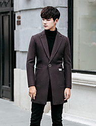 cheap -Men's Going out Casual/Daily Simple Winter Coat,Solid Peaked Lapel Long Sleeve Long Polyester