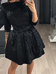 economico -Fodero Vestito Da donna-Quotidiano Vintage Boho Tinta unita Rotonda Mini Maniche lunghe Cashmere Primavera Autunno A vita medio-alta
