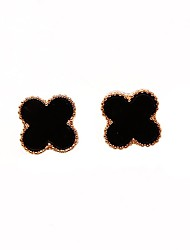 cheap -Women's Stud Earrings - Sweet / Korean White / Black Four Leaf Clover Earrings For Daily / Date
