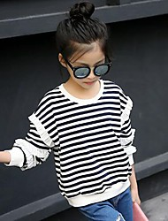 cheap -Girls' Striped Blouse, Cotton Spring Fall Simple Black