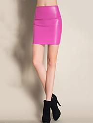 Damer Sexet Mini Nederdele I-byen-tøj Arbejde Bodycon PU,Ensfarvet Alle årstider