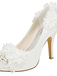 cheap -Women's Shoes Stretch Satin Spring / Summer Basic Pump Wedding Shoes Stiletto Heel Peep Toe Pearl Ivory / Party & Evening