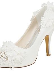 baratos -Mulheres Sapatos Cetim com Stretch Primavera / Verão Plataforma Básica Sapatos De Casamento Salto Agulha Peep Toe Pérolas Ivory