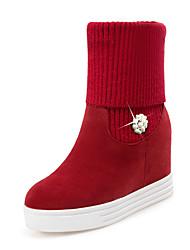 baratos -Mulheres Sapatos Pele Nobuck / Flanelado Outono / Inverno Botas da Moda / Curta / Ankle Botas Sem Salto Ponta Redonda Botas Curtas /