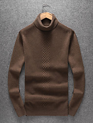 cheap -Men's Casual/Daily Simple Regular Pullover,Solid Turtleneck Long Sleeves Polyester Wool Blend Winter Fall Thick Micro-elastic