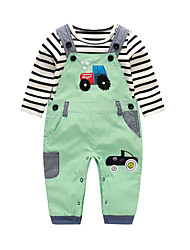 cheap -Baby Boys' Daily Striped Print Clothing Set, Cotton Spring Fall Cute Long Sleeves Green