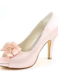 cheap -Women's Shoes Stretch Satin Spring Summer Basic Pump Wedding Shoes Stiletto Heel Peep Toe Pearl for Dress Party & Evening Light Pink