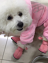 cheap -Cat Dog Boots / Shoes Animals Casual/Daily Keep Warm Solid Animal Brown Pink For Pets