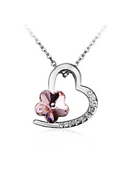 cheap -Women's Heart Cubic Zirconia Zircon Silver Plated Pendant Necklace Chain Necklace - Fashion Lovely Sweet Heart Silver Necklace For Gift
